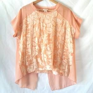 Sundance Peach Silk Floral Split Back Top Medium